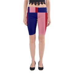 Pink and blue lines Yoga Cropped Leggings