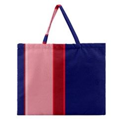 Pink And Blue Lines Zipper Large Tote Bag
