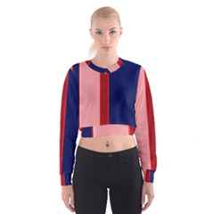 Pink and blue lines Women s Cropped Sweatshirt