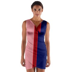Pink and blue lines Wrap Front Bodycon Dress