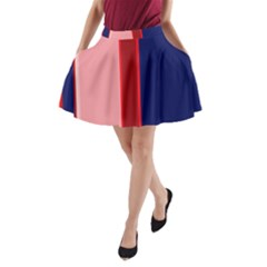 Pink and blue lines A-Line Pocket Skirt