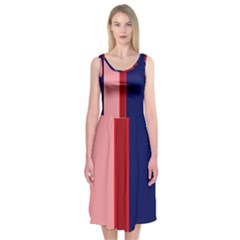 Pink and blue lines Midi Sleeveless Dress