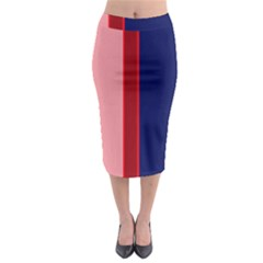 Pink and blue lines Midi Pencil Skirt