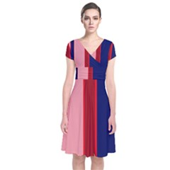 Pink and blue lines Short Sleeve Front Wrap Dress