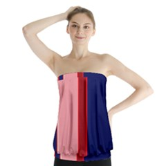 Pink and blue lines Strapless Top