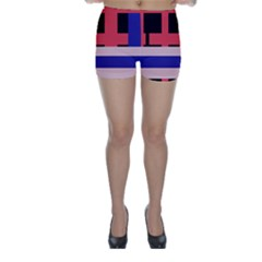 Red abstraction Skinny Shorts