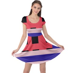 Red abstraction Cap Sleeve Dresses