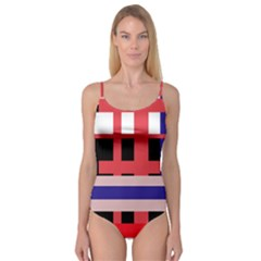 Red Abstraction Camisole Leotard