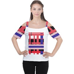 Red abstraction Women s Cutout Shoulder Tee