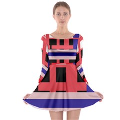 Red abstraction Long Sleeve Skater Dress