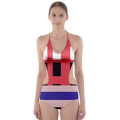 Red abstraction Cut-Out One Piece Swimsuit