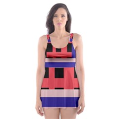 Red Abstraction Skater Dress Swimsuit