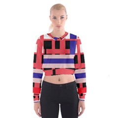 Red abstraction Women s Cropped Sweatshirt