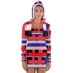 Red abstraction Women s Long Sleeve Hooded T-shirt