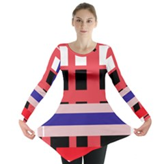 Red abstraction Long Sleeve Tunic