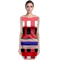 Red abstraction Classic Sleeveless Midi Dress