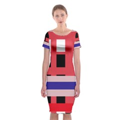 Red abstraction Classic Short Sleeve Midi Dress