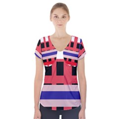 Red Abstraction Short Sleeve Front Detail Top