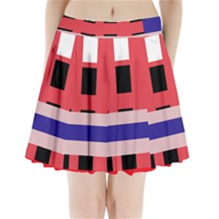 Red abstraction Pleated Mini Mesh Skirt(P209)
