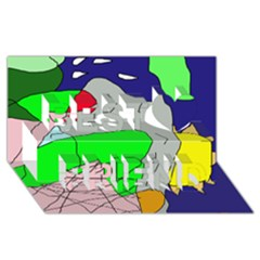 Crazy abstraction Best Friends 3D Greeting Card (8x4)
