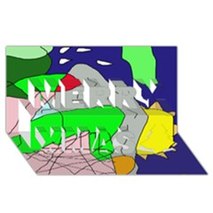 Crazy abstraction Merry Xmas 3D Greeting Card (8x4)