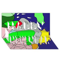 Crazy Abstraction Happy New Year 3d Greeting Card (8x4)