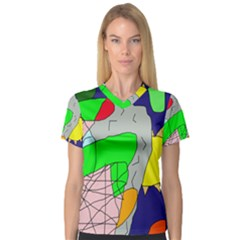Crazy abstraction Women s V-Neck Sport Mesh Tee