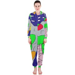 Crazy abstraction Hooded Jumpsuit (Ladies)