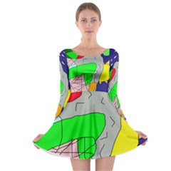 Crazy abstraction Long Sleeve Skater Dress