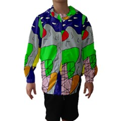 Crazy abstraction Hooded Wind Breaker (Kids)