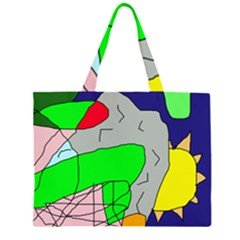 Crazy Abstraction Zipper Large Tote Bag
