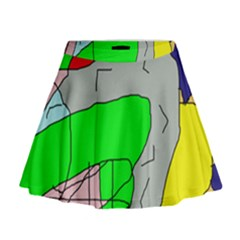 Crazy abstraction Mini Flare Skirt
