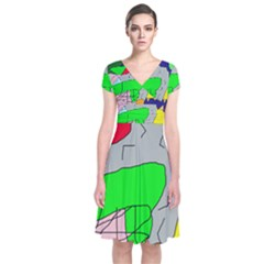 Crazy abstraction Short Sleeve Front Wrap Dress