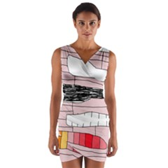 Worms Wrap Front Bodycon Dress