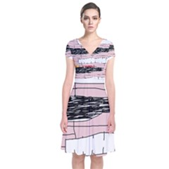 Worms Short Sleeve Front Wrap Dress