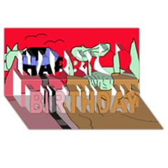 Imaginative abstraction Happy Birthday 3D Greeting Card (8x4)