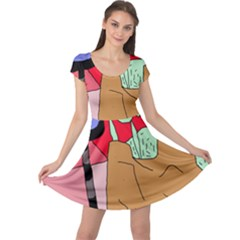 Imaginative abstraction Cap Sleeve Dresses
