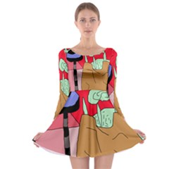 Imaginative abstraction Long Sleeve Skater Dress