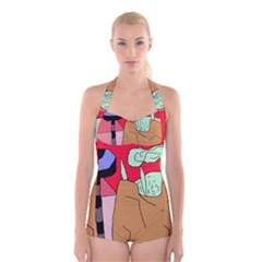 Imaginative abstraction Boyleg Halter Swimsuit