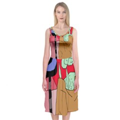 Imaginative abstraction Midi Sleeveless Dress
