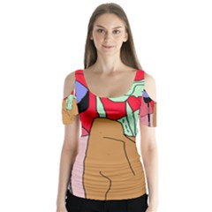 Imaginative abstraction Butterfly Sleeve Cutout Tee