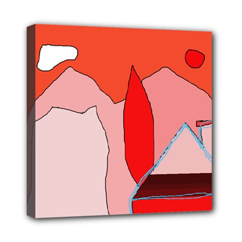 Red landscape Mini Canvas 8  x 8