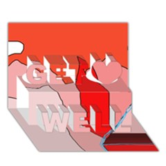 Red landscape Get Well 3D Greeting Card (7x5)