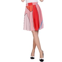 Red landscape A-Line Skirt