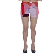 Red landscape Skinny Shorts