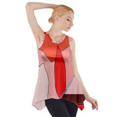 Red landscape Side Drop Tank Tunic
