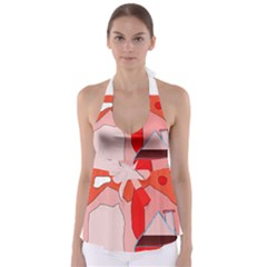 Red landscape Babydoll Tankini Top