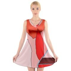 Red landscape V-Neck Sleeveless Skater Dress