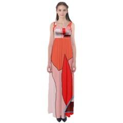 Red landscape Empire Waist Maxi Dress