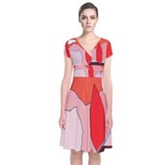 Red landscape Short Sleeve Front Wrap Dress